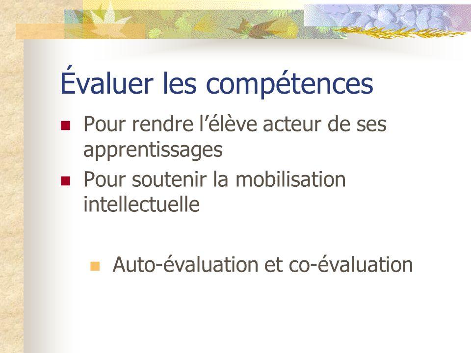 Évaluer les compétences Pour rendre lélève acteur de ses apprentissages Pour soutenir la mobilisation intellectuelle Auto-évaluation et co-évaluation