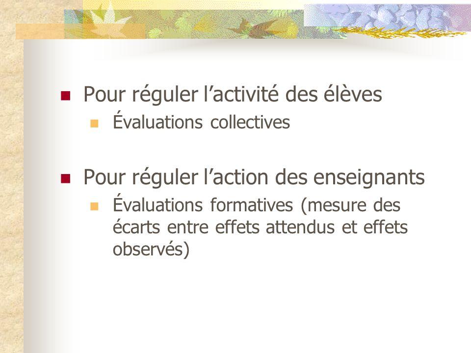 Pour réguler lactivité des élèves Évaluations collectives Pour réguler laction des enseignants Évaluations formatives (mesure des écarts entre effets attendus et effets observés)