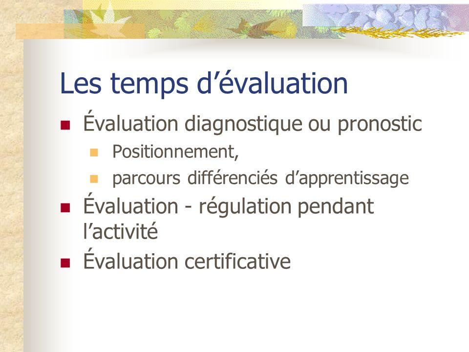 Les temps dévaluation Évaluation diagnostique ou pronostic Positionnement, parcours différenciés dapprentissage Évaluation - régulation pendant lactivité Évaluation certificative