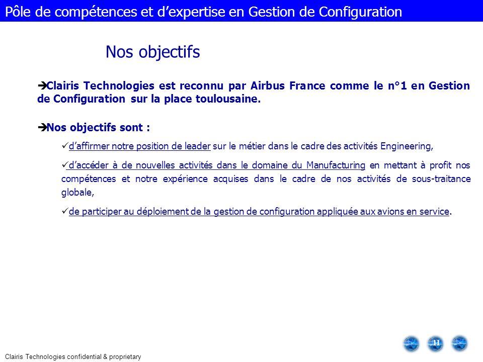 Clairis Technologies confidential & proprietary 11 Clairis Technologies est reconnu par Airbus France comme le n°1 en Gestion de Configuration sur la place toulousaine.