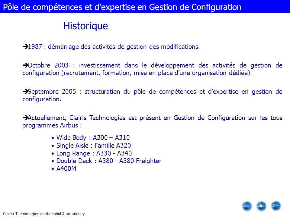Clairis Technologies confidential & proprietary 7 Évolution du nombre de collaborateurs Pôle de compétences et dexpertise en Gestion de Configuration Sur les 135 collaborateurs Sogeclair travaillant dans le cadre des projets Gestion de Configuration, 70% sont présents sur les sites dAirbus France et 30% sur les sites dAirbus Allemagne.