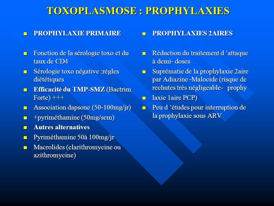TOXOPLASMOSE : PROPHYLAXIES PROPHYLAXIE PRIMAIRE PROPHYLAXIE PRIMAIRE Fonction de la sérologie toxo et du taux de CD4 Fonction de la sérologie toxo et