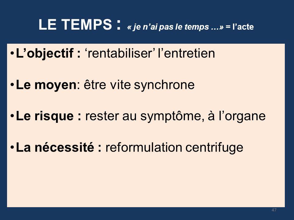 LE TEMPS : « je nai pas le temps …» = lacte Lobjectif : rentabiliser lentretien Le moyen: être vite synchrone Le risque : rester au symptôme, à lorgan