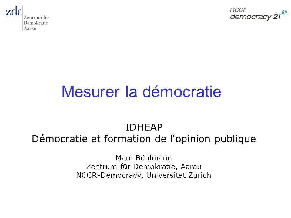 Marc Bühlmann Mesurer la démocratie 32 Opérationnalisation chez Dahl principes Variable associ ation Opini on Droit vote Comp étitio n Infor matio n Elibili gité Gouv erne m.