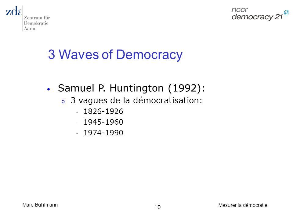 Marc Bühlmann Mesurer la démocratie 10 3 Waves of Democracy Samuel P. Huntington (1992): o 3 vagues de la démocratisation: - 1826-1926 - 1945-1960 - 1