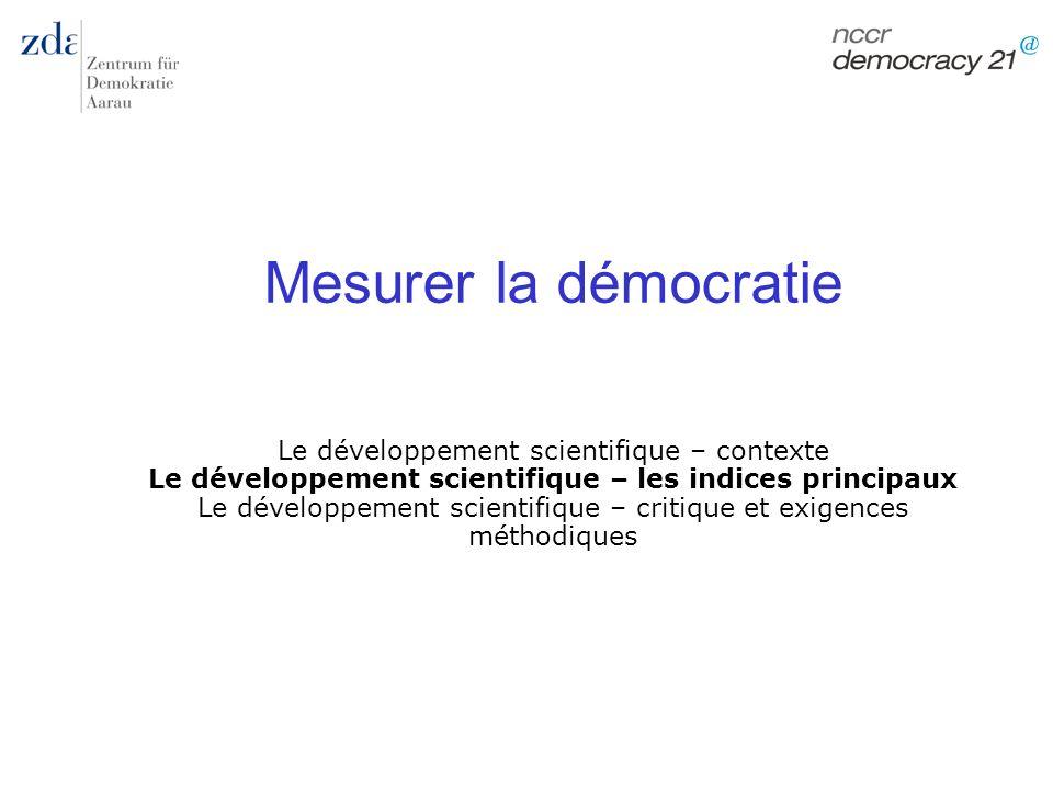 Mesurer la démocratie Le développement scientifique – contexte Le développement scientifique – les indices principaux Le développement scientifique –