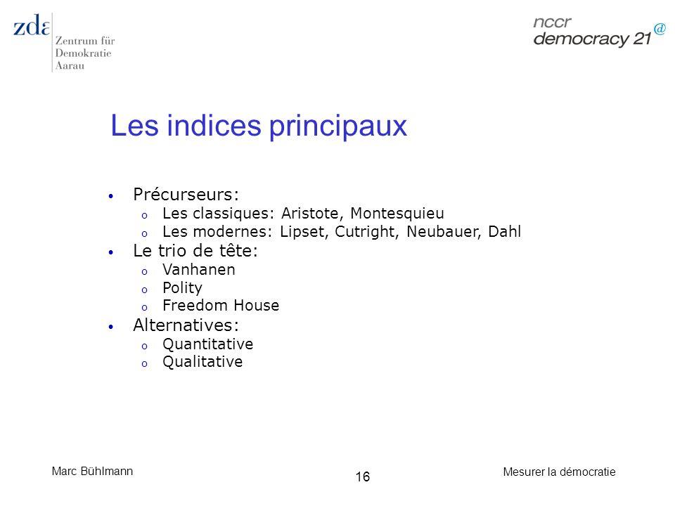 Marc Bühlmann Mesurer la démocratie 16 Les indices principaux Précurseurs: o Les classiques: Aristote, Montesquieu o Les modernes: Lipset, Cutright, N