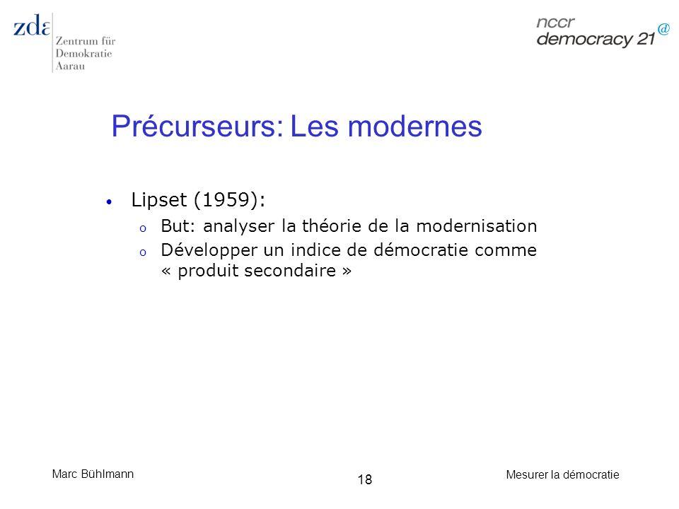 Marc Bühlmann Mesurer la démocratie 18 Précurseurs: Les modernes Lipset (1959): o But: analyser la théorie de la modernisation o Développer un indice