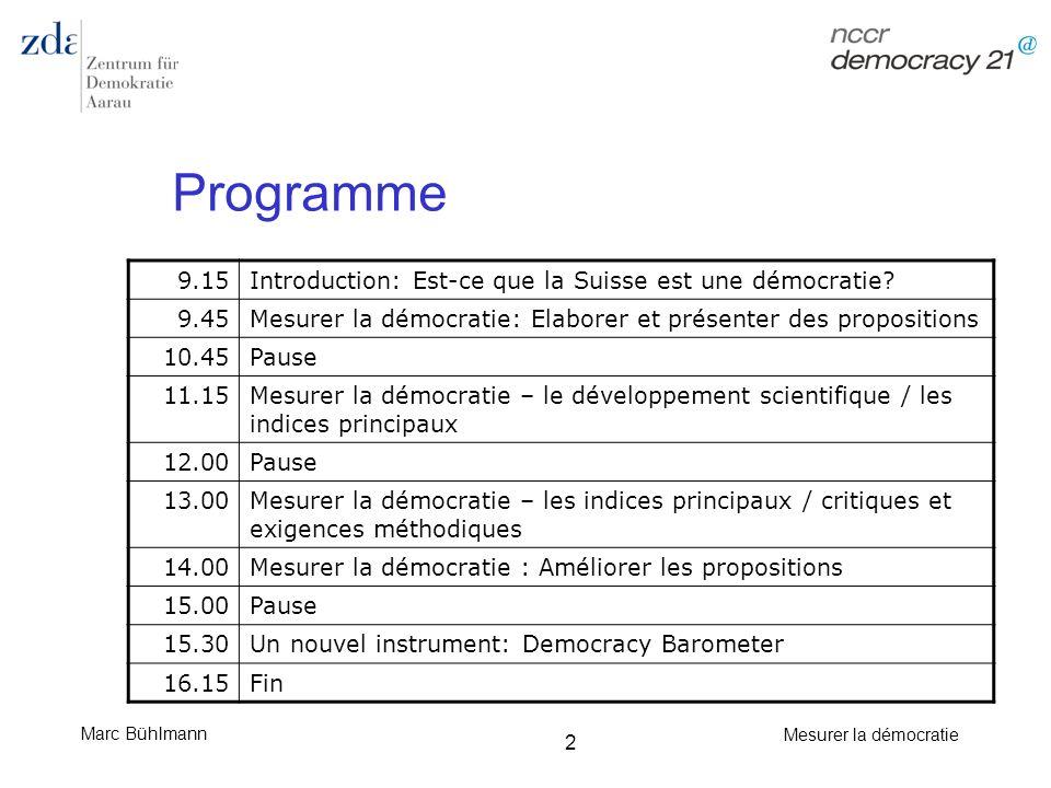 Marc Bühlmann Mesurer la démocratie 53 Le trio de tête: conclusion Longues séries chronologiques Apte pour différencier les démocraties des autocraties (mais sans plus) Défauts du point de vue de lobjectivité, de la validité, de la fiabilité