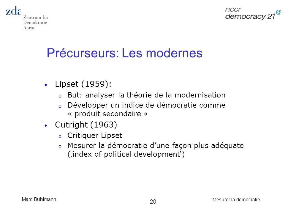 Marc Bühlmann Mesurer la démocratie 20 Précurseurs: Les modernes Lipset (1959): o But: analyser la théorie de la modernisation o Développer un indice