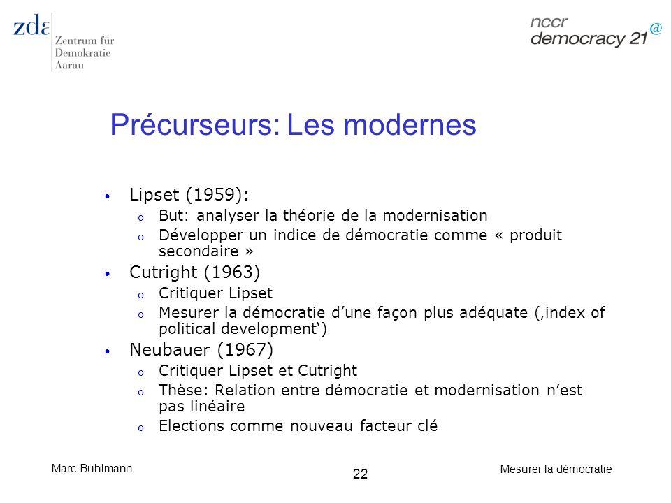 Marc Bühlmann Mesurer la démocratie 22 Précurseurs: Les modernes Lipset (1959): o But: analyser la théorie de la modernisation o Développer un indice