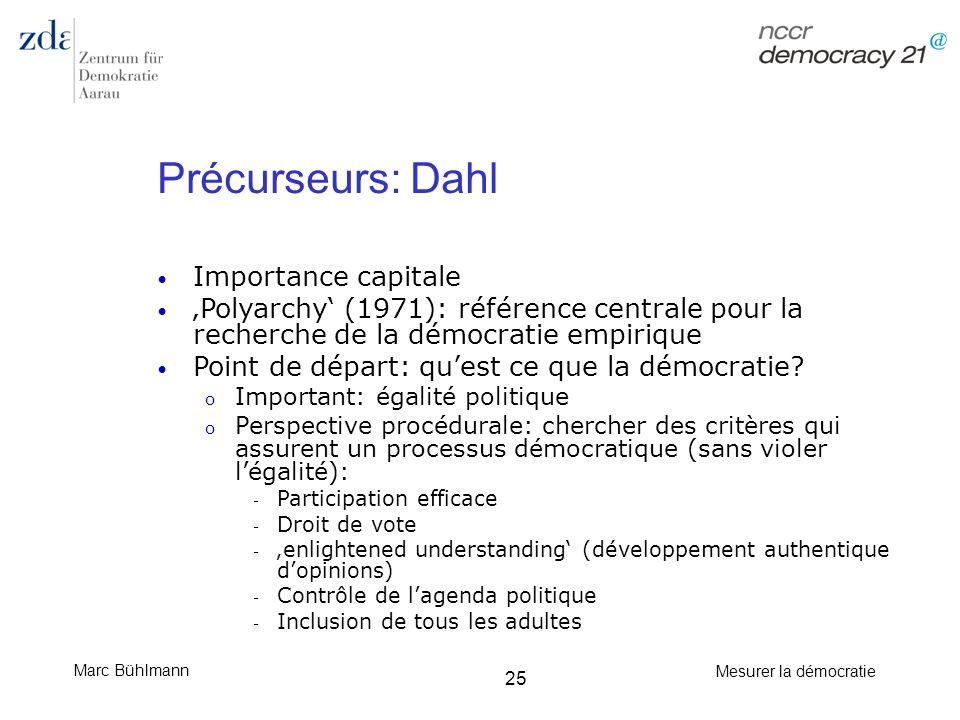 Marc Bühlmann Mesurer la démocratie 25 Précurseurs: Dahl Importance capitale Polyarchy (1971): référence centrale pour la recherche de la démocratie e