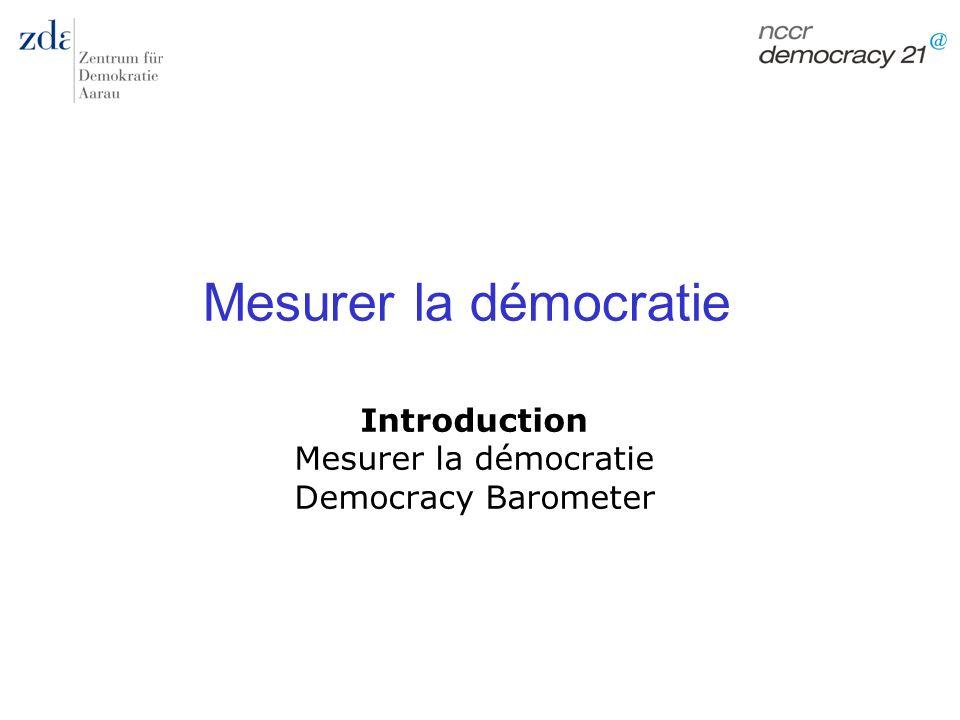 Marc Bühlmann Mesurer la démocratie 64 Exigence du contenu Approches trop minimalistes: la démocratie est-elle uniquement élection, compétition, participation.