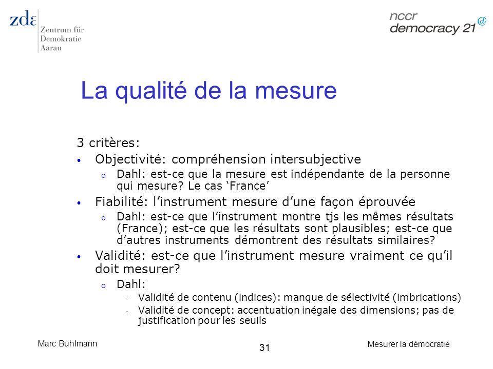 Marc Bühlmann Mesurer la démocratie 31 La qualité de la mesure 3 critères: Objectivité: compréhension intersubjective o Dahl: est-ce que la mesure est
