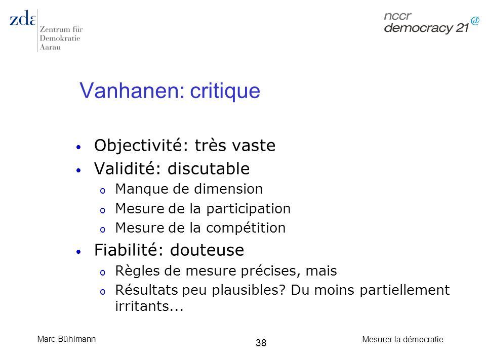 Marc Bühlmann Mesurer la démocratie 38 Vanhanen: critique Objectivité: très vaste Validité: discutable o Manque de dimension o Mesure de la participat