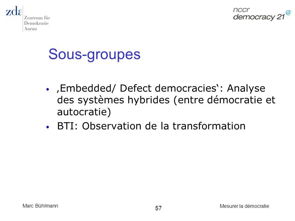 Marc Bühlmann Mesurer la démocratie 57 Sous-groupes Embedded/ Defect democracies: Analyse des systèmes hybrides (entre démocratie et autocratie) BTI: