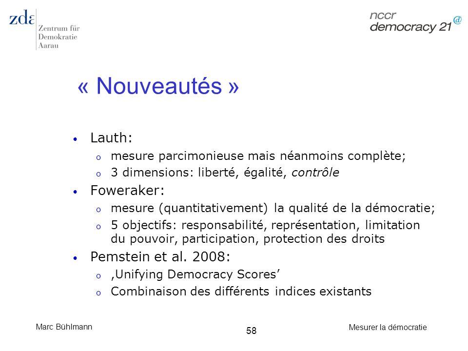 Marc Bühlmann Mesurer la démocratie 58 « Nouveautés » Lauth: o mesure parcimonieuse mais néanmoins complète; o 3 dimensions: liberté, égalité, contrôl