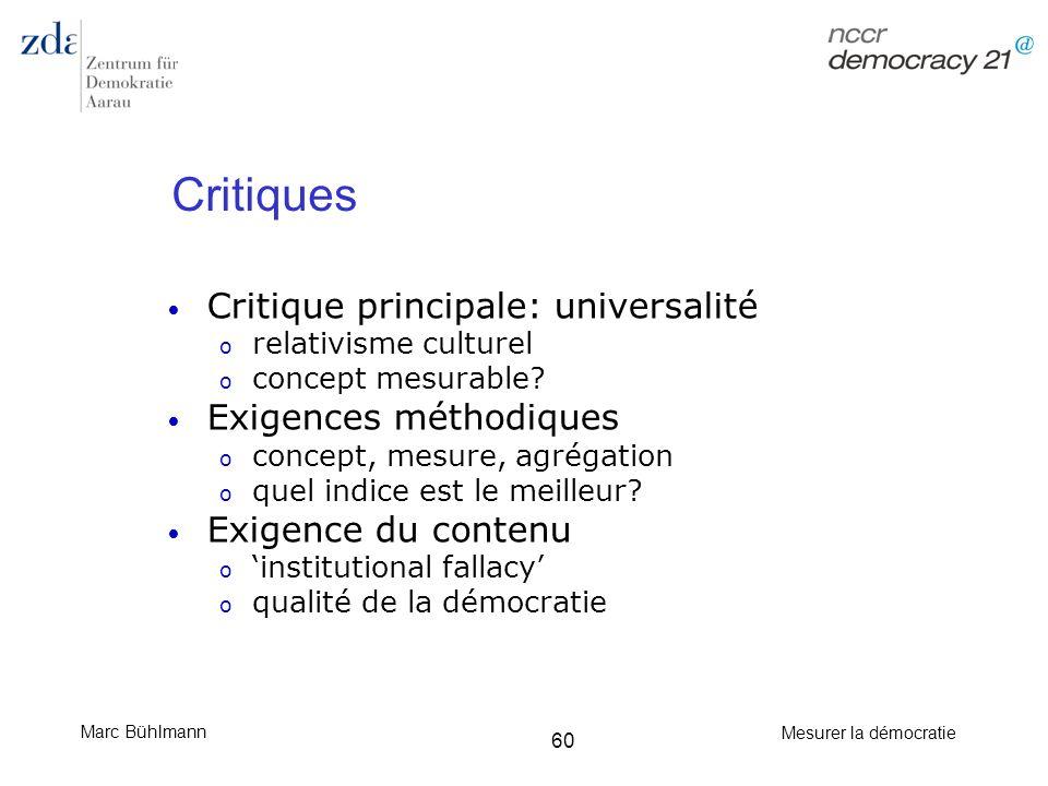 Marc Bühlmann Mesurer la démocratie 60 Critiques Critique principale: universalité o relativisme culturel o concept mesurable? Exigences méthodiques o