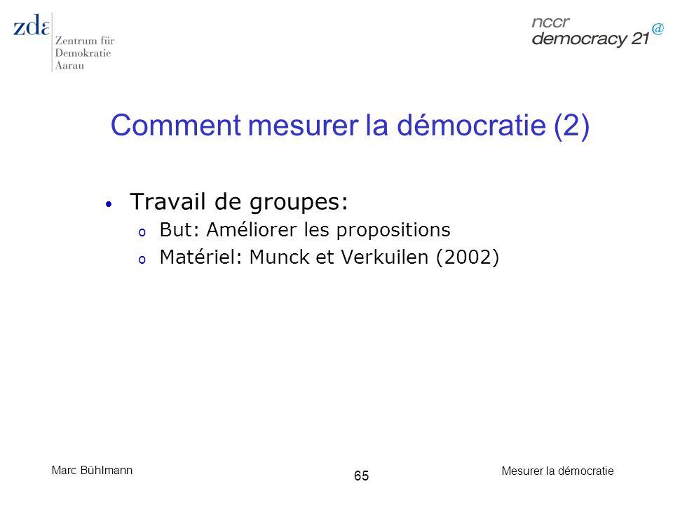 Marc Bühlmann Mesurer la démocratie 65 Comment mesurer la démocratie (2) Travail de groupes: o But: Améliorer les propositions o Matériel: Munck et Ve