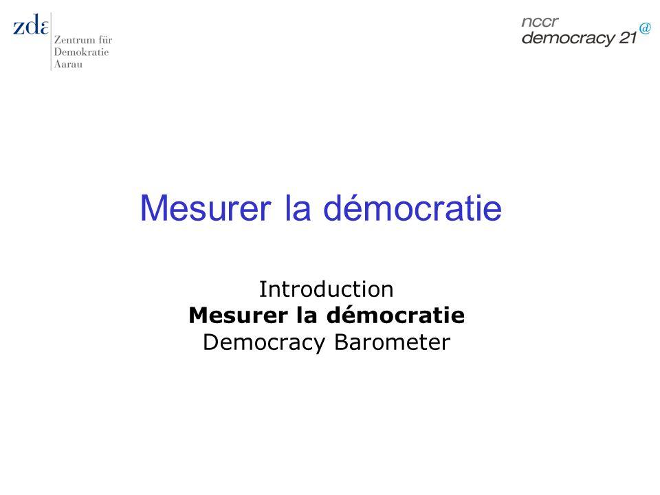 Marc Bühlmann Mesurer la démocratie 68 Idée initiale: combler les lacunes des indices traditionnels 1.Elargir les concepts minimalistes 2.Surmonter les faiblesses méthodiques (manque de transparence, estimation par des experts, manque de validité et de fiabilité) 3.Prendre en considération les exigences de la recherche actuelle (mesurer la qualité, mesurer limpact réel de la constitution) Objectif: mesurer les différences de qualité des démocraties établies.