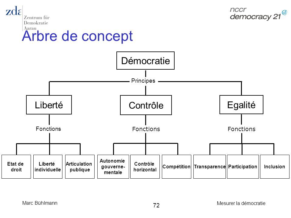 Marc Bühlmann Mesurer la démocratie 72 Arbre de concept Démocratie Liberté Contrôle Egalité Principes Articulation publique Fonctions Etat de droit Au