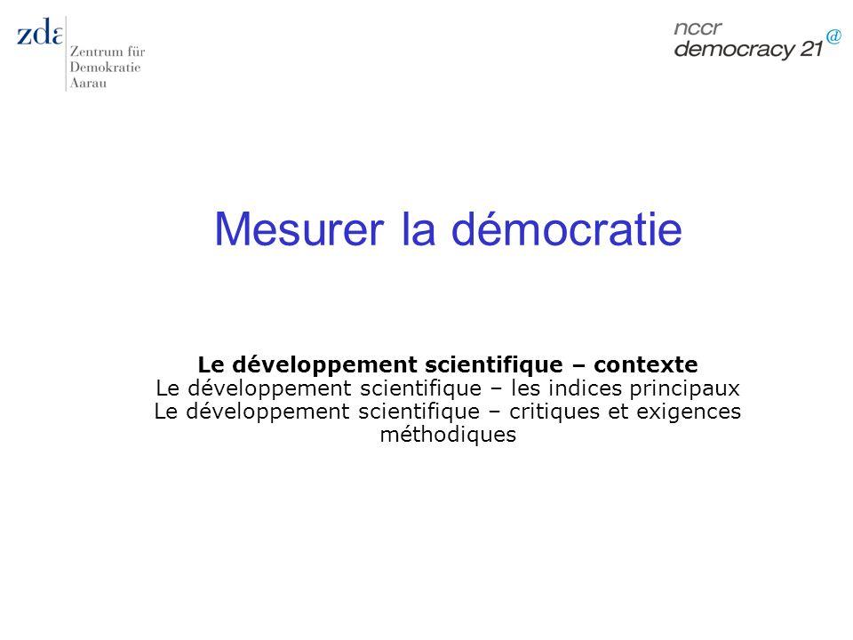 Marc Bühlmann Mesurer la démocratie 29 Recherche empirique chez Dahl Traduire la théorie en des concepts mesurables: compétition / participation (2 principes) Opérationnaliser: 8 critères (composants) Mesurer: o Participation = nombre de citoyens ayant le droit de vote (>90%; 20-90%; <20%; pas de droit) o Compétition = 10 variables qui mesurent les 8 (7!) critères Dahl 1971 (Apendix A 238-240) Dahl 1971 (Apendix A 238-240) Agrégation: addition des catégories (1 – 4) o 10 = meilleure compétition o 40 = la plus mauvaise compétition (4+4+4+4+4+6+3+4+3+4) 31 scale types Polyarchie = fully inclusive (>90%) et scale type 1 - 8 (10-18 points)