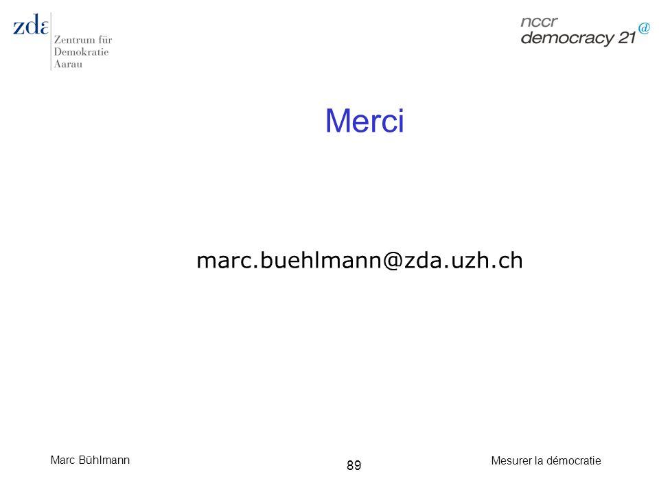 Marc Bühlmann Mesurer la démocratie 89 Merci marc.buehlmann@zda.uzh.ch