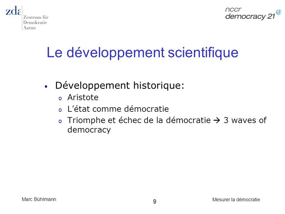 Marc Bühlmann Mesurer la démocratie 9 Le développement scientifique Développement historique: o Aristote o Létat comme démocratie o Triomphe et échec