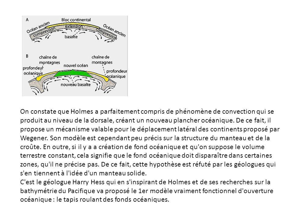 On constate que Holmes a parfaitement compris de phénomène de convection qui se produit au niveau de la dorsale, créant un nouveau plancher océanique.