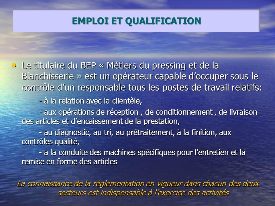 Le titulaire du BEP « Métiers du pressing et de la Blanchisserie » est un opérateur capable doccuper sous le contrôle dun responsable tous les postes