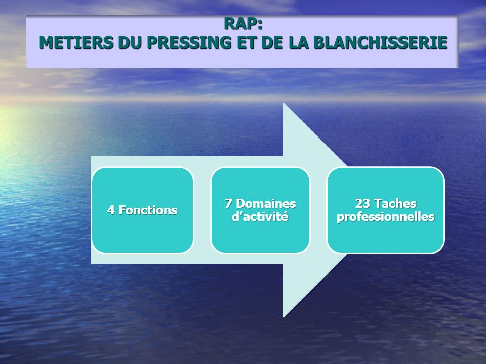 RAP: METIERS DU PRESSING ET DE LA BLANCHISSERIE 4 Fonctions 7 Domaines dactivité 23 Taches professionnelles