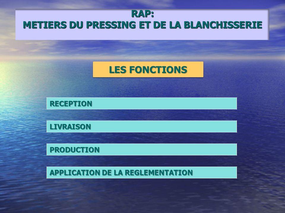 RAP: METIERS DU PRESSING ET DE LA BLANCHISSERIE RECEPTIONLIVRAISON PRODUCTION APPLICATION DE LA REGLEMENTATION LES FONCTIONS
