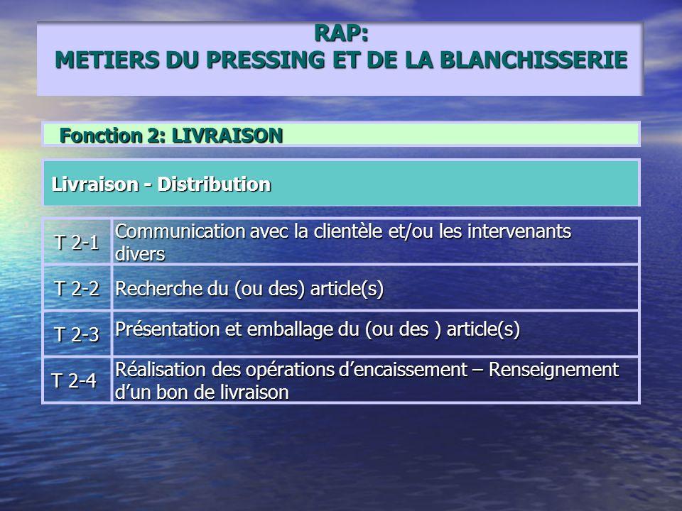 RAP: METIERS DU PRESSING ET DE LA BLANCHISSERIE Fonction 2: LIVRAISON Livraison - Distribution Livraison - Distribution T 2-1 Communication avec la cl