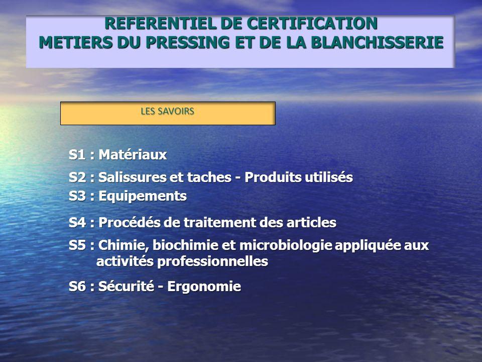 REFERENTIEL DE CERTIFICATION METIERS DU PRESSING ET DE LA BLANCHISSERIE LES SAVOIRS S1 : Matériaux S2 : Salissures et taches - Produits utilisés S3 :