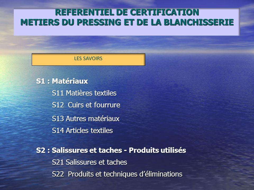REFERENTIEL DE CERTIFICATION METIERS DU PRESSING ET DE LA BLANCHISSERIE LES SAVOIRS S1 : Matériaux S11 Matières textiles S12 Cuirs et fourrure S13 Aut