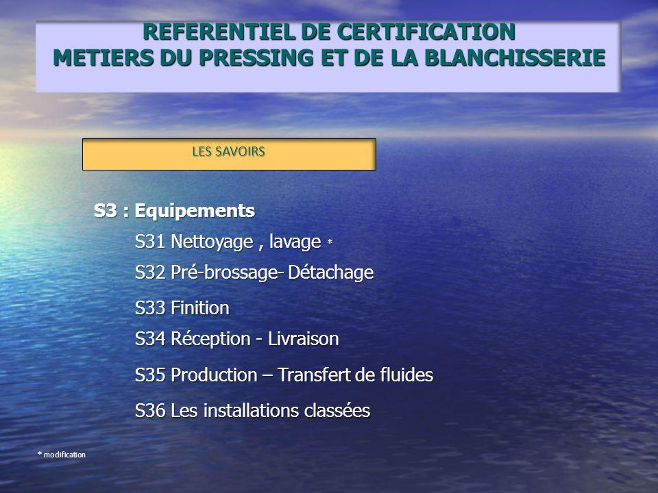 REFERENTIEL DE CERTIFICATION METIERS DU PRESSING ET DE LA BLANCHISSERIE LES SAVOIRS S3 : Equipements S31 Nettoyage, lavage * S32 Pré-brossage- Détacha