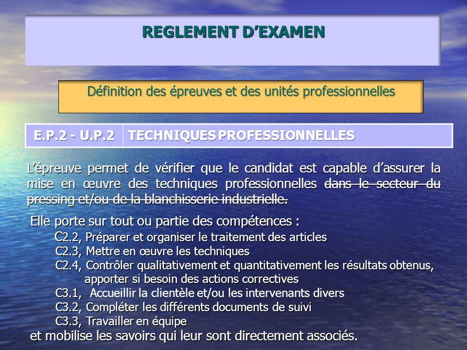 REGLEMENT DEXAMEN Définition des épreuves et des unités professionnelles E.P.2 - U.P.2 TECHNIQUES PROFESSIONNELLES Lépreuve permet de vérifier que le