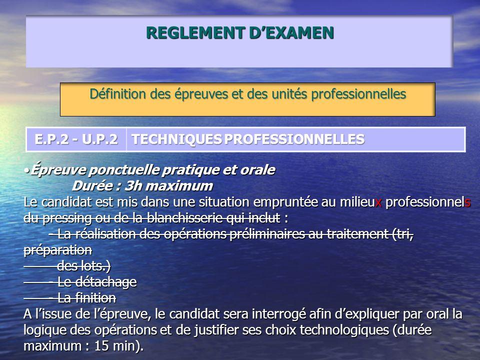REGLEMENT DEXAMEN Définition des épreuves et des unités professionnelles E.P.2 - U.P.2 TECHNIQUES PROFESSIONNELLES Épreuve ponctuelle pratique et oral