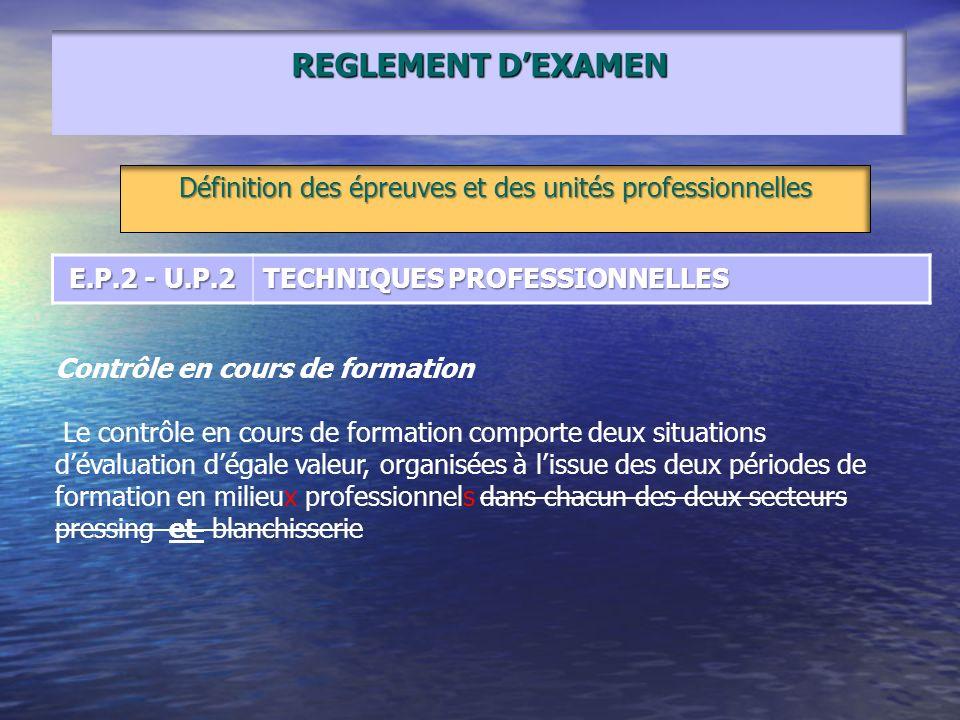 REGLEMENT DEXAMEN Définition des épreuves et des unités professionnelles E.P.2 - U.P.2 TECHNIQUES PROFESSIONNELLES Contrôle en cours de formation Le c