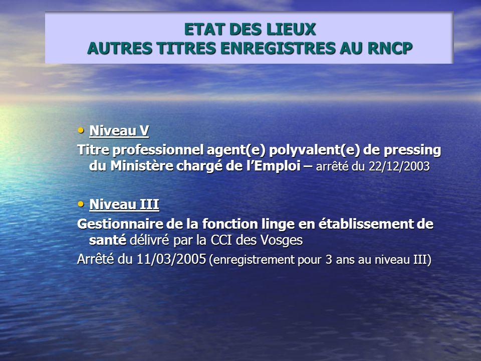 Niveau V Niveau V Titre professionnel agent(e) polyvalent(e) de pressing du Ministère chargé de lEmploi – arrêté du 22/12/2003 Niveau III Niveau III G