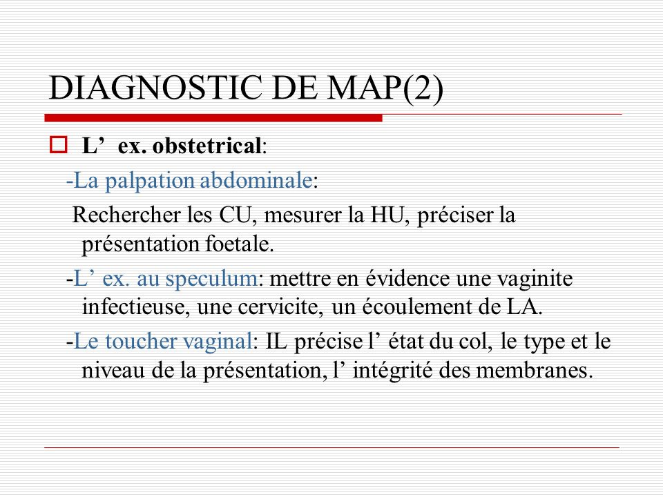 DIAGNOSTIC DE MAP(2) L ex.
