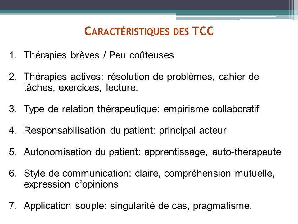 C ARACTÉRISTIQUES DES TCC 1.Thérapies brèves / Peu coûteuses 2.Thérapies actives: résolution de problèmes, cahier de tâches, exercices, lecture. 3.Typ