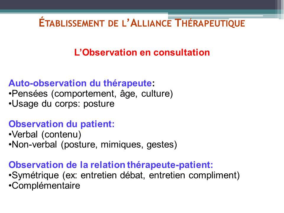 É TABLISSEMENT DE L A LLIANCE T HÉRAPEUTIQUE LObservation en consultation Auto-observation du thérapeute: Pensées (comportement, âge, culture) Usage d