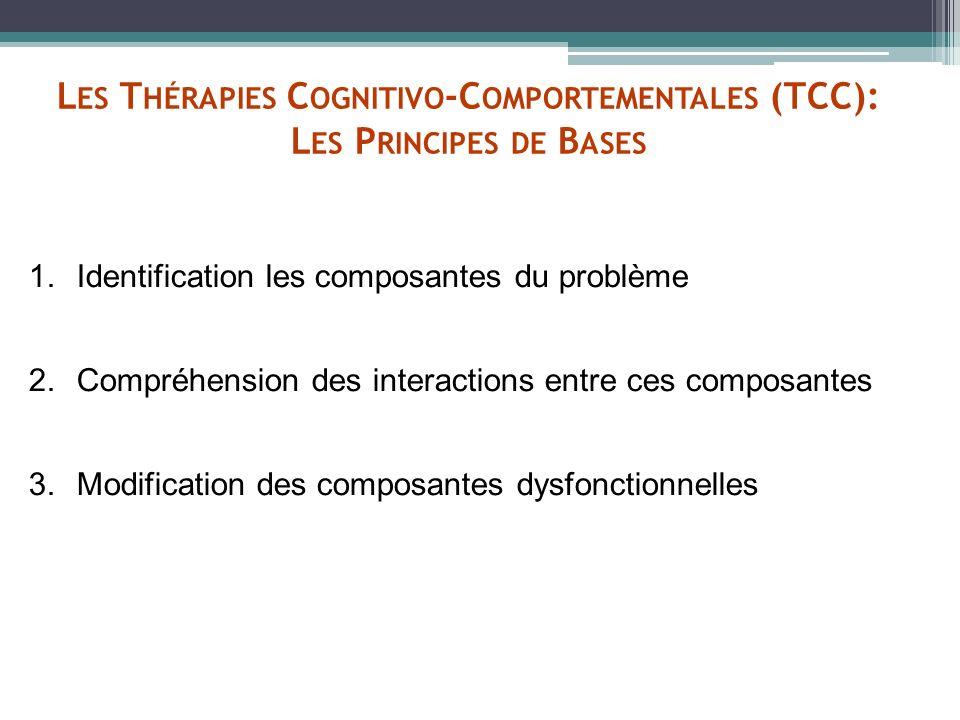 L ES T HÉRAPIES C OGNITIVO -C OMPORTEMENTALES (TCC): L ES P RINCIPES DE B ASES 1.Identification les composantes du problème 2.Compréhension des intera