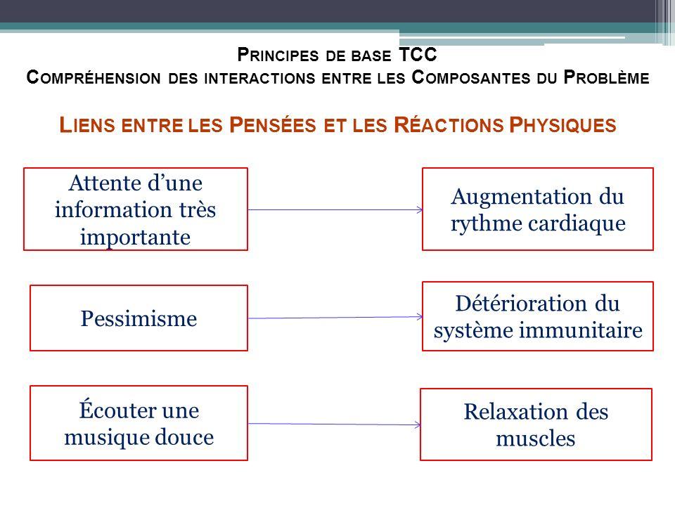 P RINCIPES DE BASE TCC C OMPRÉHENSION DES INTERACTIONS ENTRE LES C OMPOSANTES DU P ROBLÈME L IENS ENTRE LES P ENSÉES ET LES R ÉACTIONS P HYSIQUES Atte