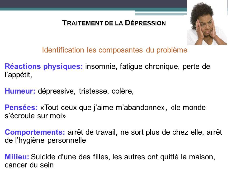 T RAITEMENT DE LA D ÉPRESSION Identification les composantes du problème Réactions physiques: insomnie, fatigue chronique, perte de lappétit, Humeur: