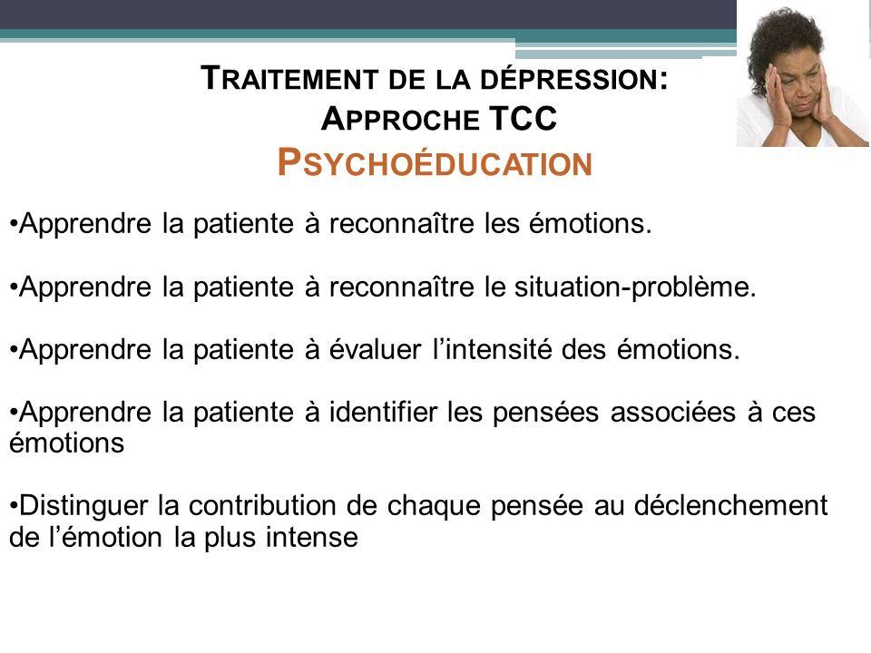 Apprendre la patiente à reconnaître les émotions. Apprendre la patiente à reconnaître le situation-problème. Apprendre la patiente à évaluer lintensit