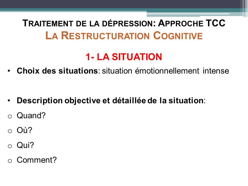 T RAITEMENT DE LA DÉPRESSION : A PPROCHE TCC L A R ESTRUCTURATION C OGNITIVE 1- LA SITUATION Choix des situations: situation émotionnellement intense
