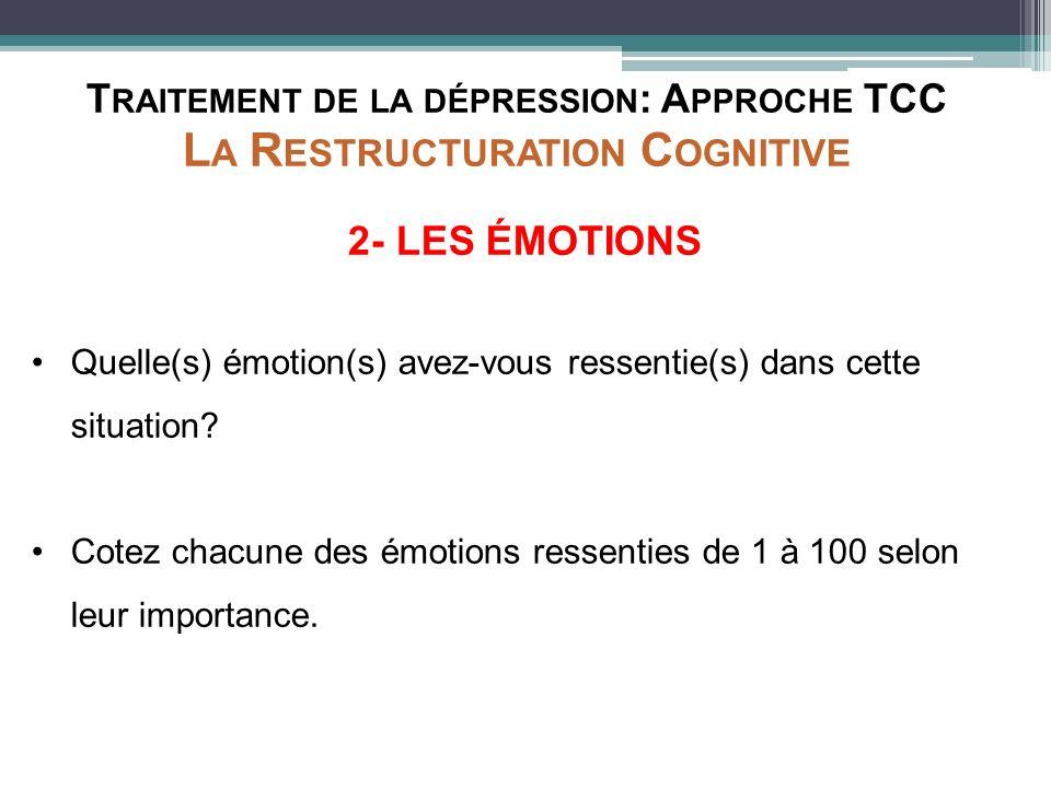 T RAITEMENT DE LA DÉPRESSION : A PPROCHE TCC L A R ESTRUCTURATION C OGNITIVE 2- LES ÉMOTIONS Quelle(s) émotion(s) avez-vous ressentie(s) dans cette si