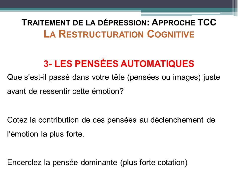 T RAITEMENT DE LA DÉPRESSION : A PPROCHE TCC L A R ESTRUCTURATION C OGNITIVE 3- LES PENSÉES AUTOMATIQUES Que sest-il passé dans votre tête (pensées ou